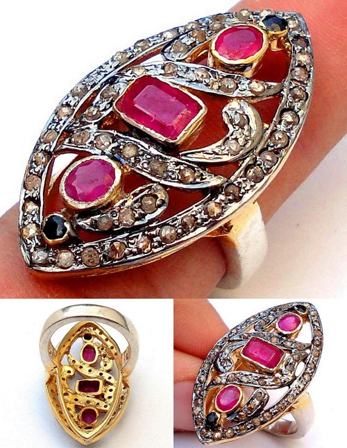 Victorian Style Rings 2.22 Ct Natural Certified Diamond Sapphire Ruby 925 Sterling Silver Special Occasion