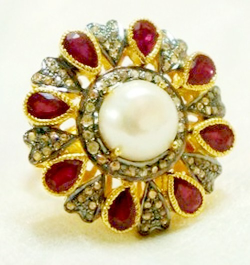Antique Style Diamond Engagement Rings 5.10 Ct Natural Certified Diamond Ruby Pearl 925 Sterling Silver Workwear