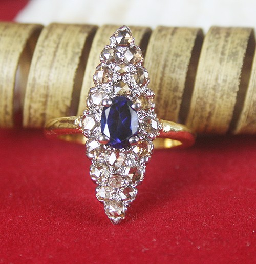 Polki Rings 1.50 Ct Natural Certified Diamond Sapphire 925 Sterling Silver Anniversary