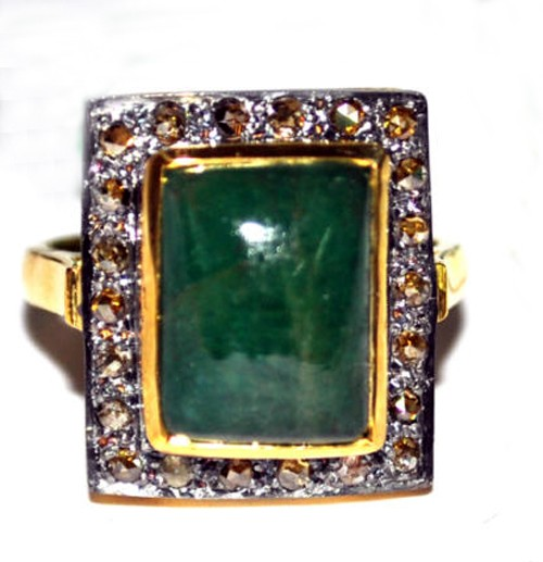 Vintage Diamond Engagement Rings 2.24 Ct Natural Certified Diamond Emerald 925 Sterling Silver Everyday