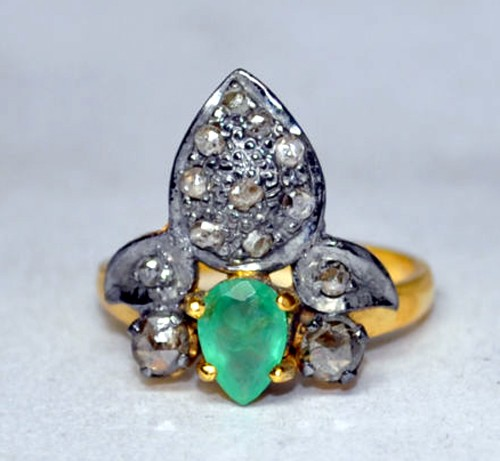 Antique Diamond Engagement Rings 0.90 Ct Natural Certified Diamond Emerald 925 Sterling Silver Office Wear
