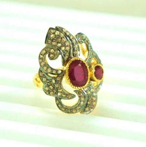 Antique Style Rings 2.40 Ct Natural Certified Diamond Ruby 925 Sterling Silver Festive