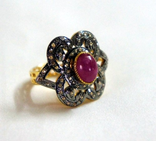 Victorian Rings For Sale 1.75 Ct Natural Certified Diamond Ruby 925 Sterling Silver Wedding