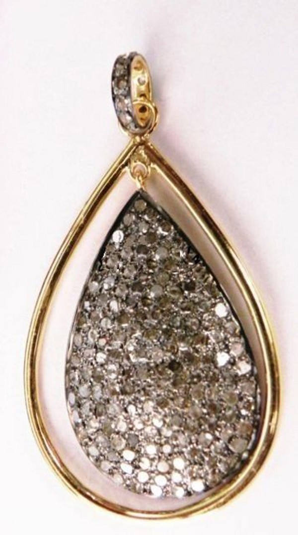 Antique Diamond Pendant 1.66 Ct Natural Certified Diamond 925 Sterling Silver Wedding