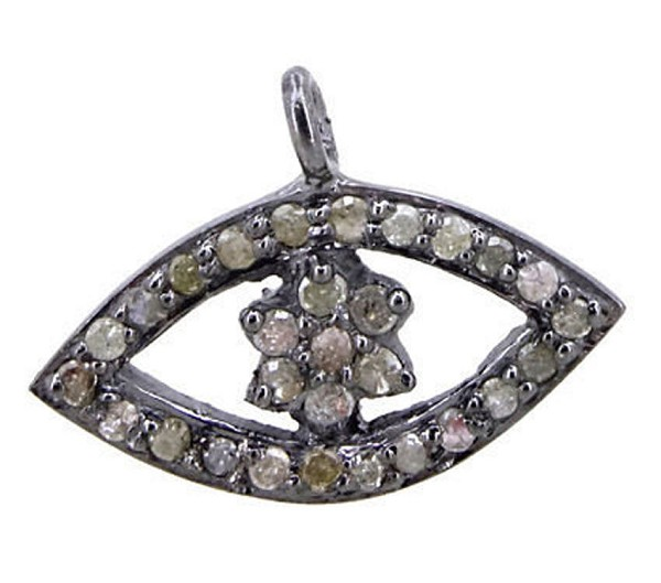 Art Deco Diamond Pendant 0.75Ct Natural Certified Diamond 925 Sterling Silver Festive
