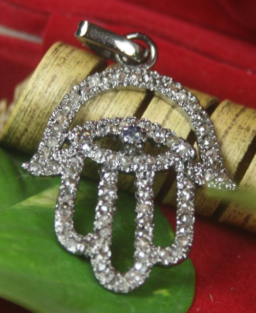 Vintage Diamond Pendant 0.80 Ct Natural Certified Diamond 925 Sterling Silver Workwear