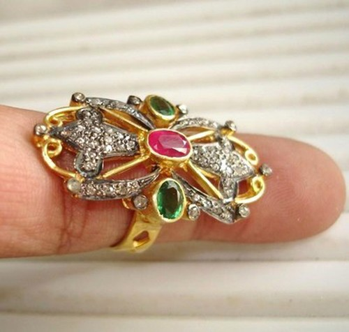 Victorian Rings 1.60 Ct Natural Certified Diamond Ruby Emerald 925 Sterling Silver Festive