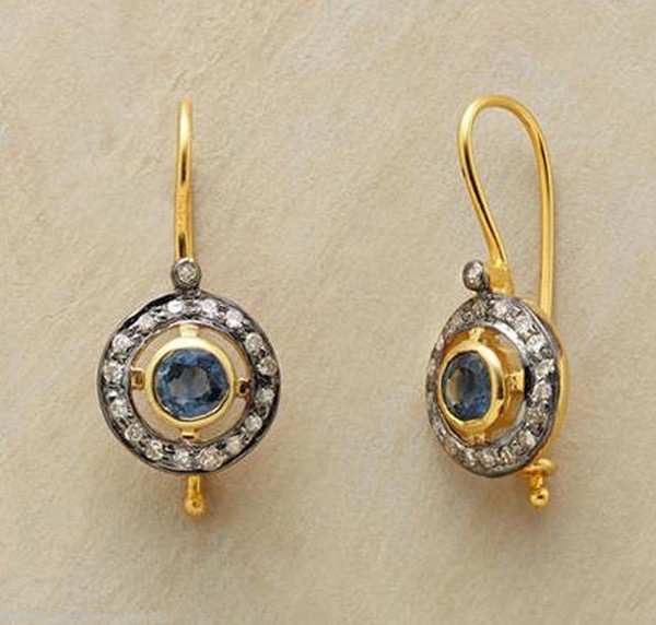 Uncut Earrings 3.58 Ct Natural Certified Diamond Blue Sapphire 925 Sterling Silver Earring Festive