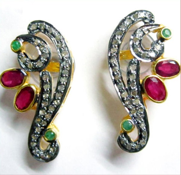 Vintage Diamond Earrings 3.54 Ct Natural Certified Diamond Ruby Emerald 925 Sterling Silver Vacation