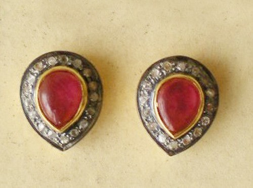 Antique Earrings 3.05 Ct Natural Certified Diamond Ruby 925 Sterling Silver Workwear