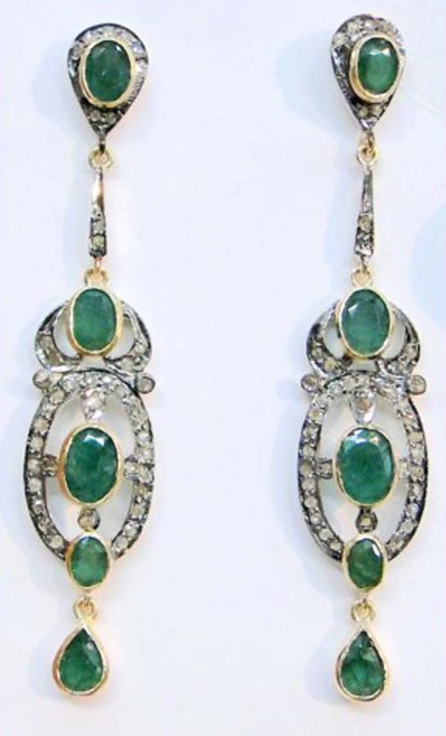 Antique Diamond Earrings 10.10 Ct Natural Certified Diamond Emerald 925 Sterling Silver Vacation
