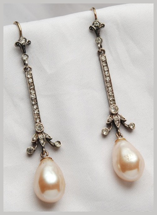Vintage Diamond Earrings 3.80 Ct Natural Certified Diamond Pearl 925 Sterling Silver Everyday