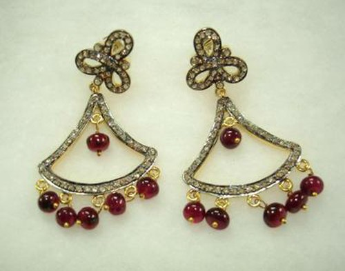 Antique Drop Earrings 4.02 Ct Natural Certified Diamond Ruby 925 Sterling Silver Wedding