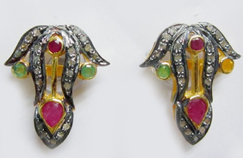Antique Diamond Earrings 1.80 Ct Natural Certified Diamond Ruby Emerald 925 Sterling Silver Everyday