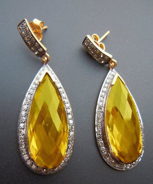 Art Deco Earrings 6.15 Ct Natural Certified Diamond Yellow Topaz 925 Sterling Silver Anniversary