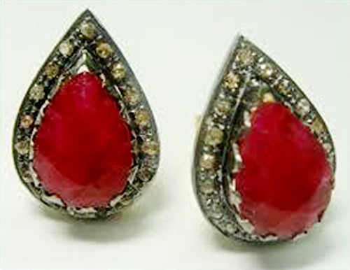 Victorian Diamond Earrings 2.95 Ct Natural Certified Diamond Ruby 925 Sterling Silver Wedding