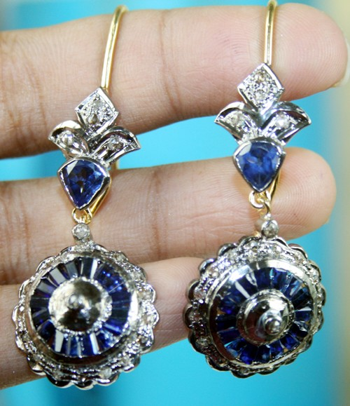 Art Deco Earrings 4.00 Ct Natural Certified Diamond Blue Sapphire 925 Sterling Silver Engagement