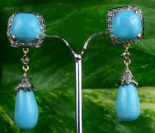 Antique Drop Earrings 6.70 Ct Natural Certified Diamond Turquoise 925 Sterling Silver Weekend
