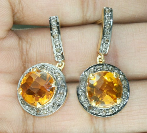 Polki Earrings 1.00 Ct Natural Certified Diamond 3.00 Ct Golden Topaz 925 Sterling Silver Party