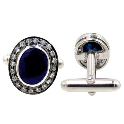Art Deco Cufflinks 2.10 Ct Natural Certified Diamond Blue Sapphire 925 Sterling Silver Workwear