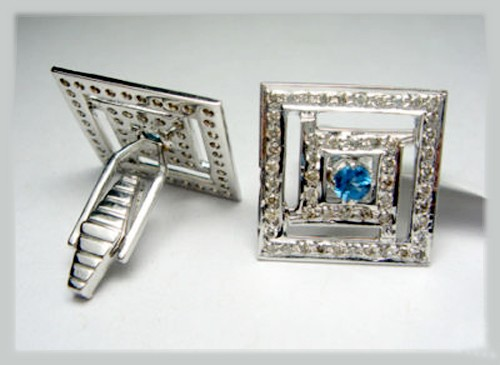 Antique Victorian Cufflinks 1.32 Ct Natural Certified Diamond Blue Topaz 925 Sterling Silver Vacation