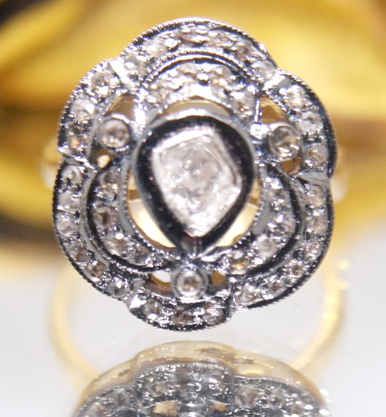 Antique Style Engagement Rings 0.82 Ct Natural Certified Diamond 925 Sterling Silver Party
