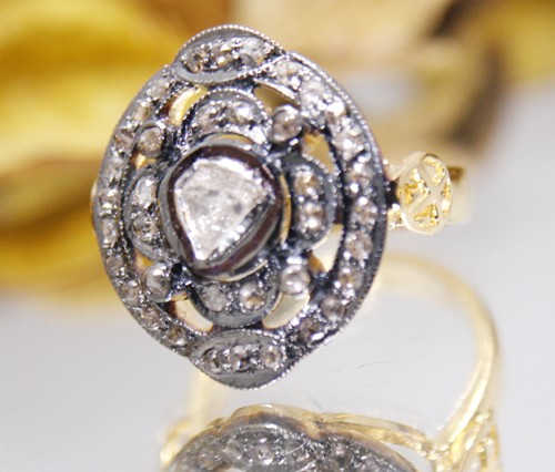 Antique Style Rings 0.70 Ct Natural Certified Diamond 925 Sterling Silver Festive