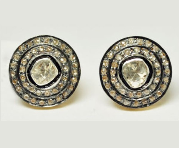 Uncut Earrings 1.56 Ct Natural Certified Diamond 925 Sterling Silver Studs Special Occasion