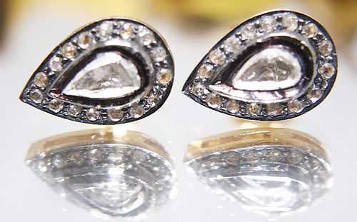Rose Cut Earrings 0.75 Ct Natural Certified Diamond 925 Sterling Silver Special Occasion
