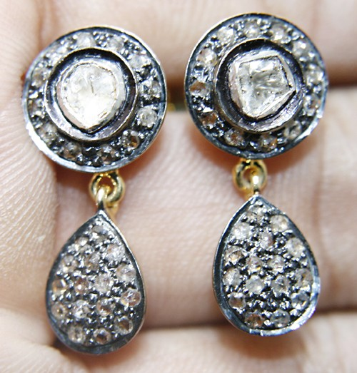 Antique Diamond Earrings 1.09 Ct Natural Certified Diamond 925 Sterling Silver Festive
