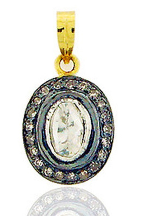 Antique Pendants 1.00 Ct Natural Certified Diamond 925 Sterling Silver Workwear