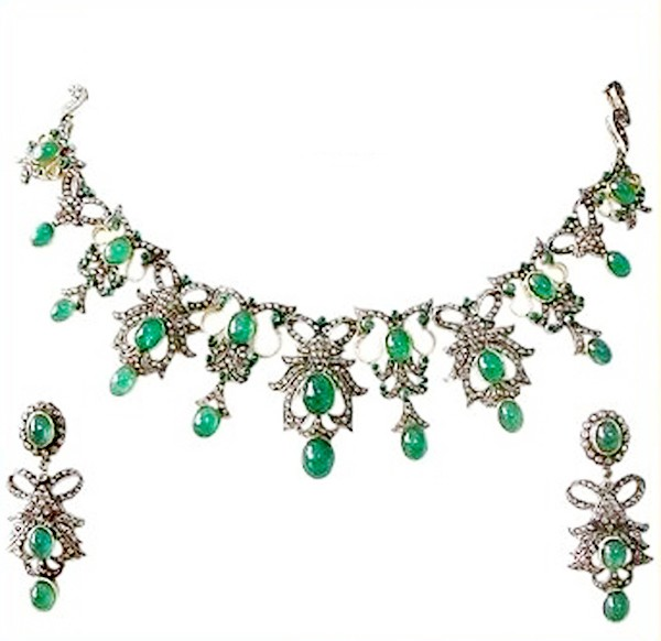 Polki Necklace 7.25 Ct Natural Certified Diamond Emerald 14.50 Ct 925 Sterling Silver Vacation