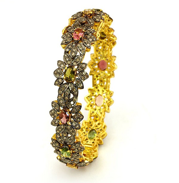 Victorian Bracelet 4.50 Ct Natural Certified Diamond 5.00 Ct Tourmaline 925 Sterling Silver Office Wear