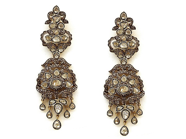 Victorian Drop Earrings 5.05 Ct Natural Certified Diamond 925 Sterling Silver Engagement