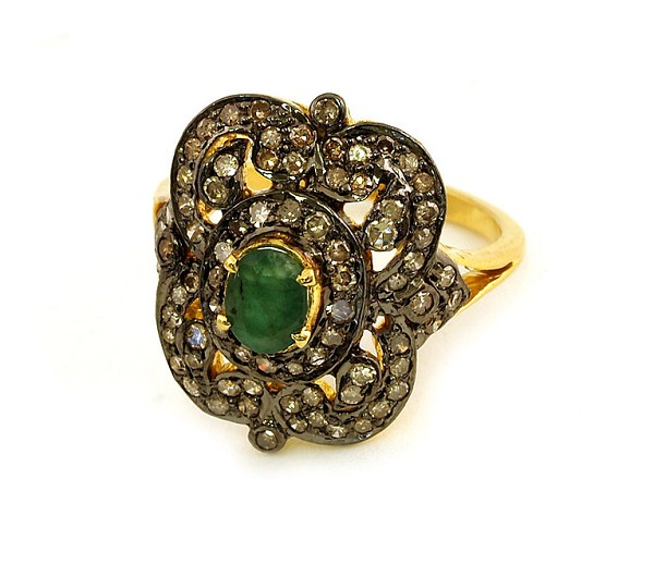 Antique Style Engagement Rings 1.52 Ct Natural Certified Diamond 1.00 Ct Emerald 925 Sterling Silver Party