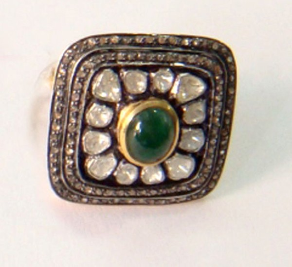 Vintage Wedding Ring 2.09 Ct Natural Certified Diamond 0.85 Ct Emerald 925 Sterling Silver Workwear