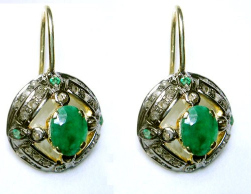 Antique Earrings 1.10 Ct Natural Certified Diamond 1.20 Ct Emerald 925 Sterling Silver Everyday
