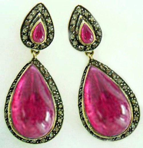 Antique Diamond Earrings 1.50 Ct Natural Certified Diamond 4.50 Ct Ruby 925 Sterling Silver Office Wear