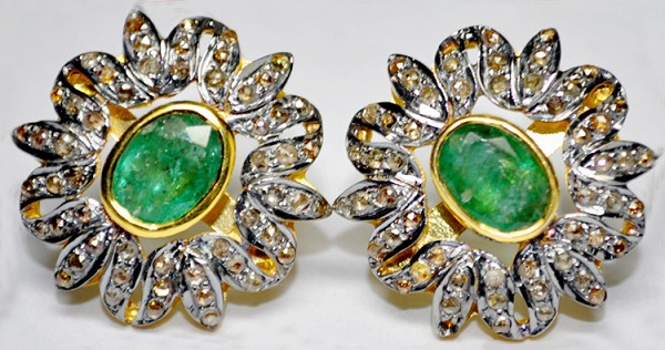 Art Deco Earrings 1.62 Ct Natural Certified Diamond 1.00 Ct Emerald 925 Sterling Silver Engagement