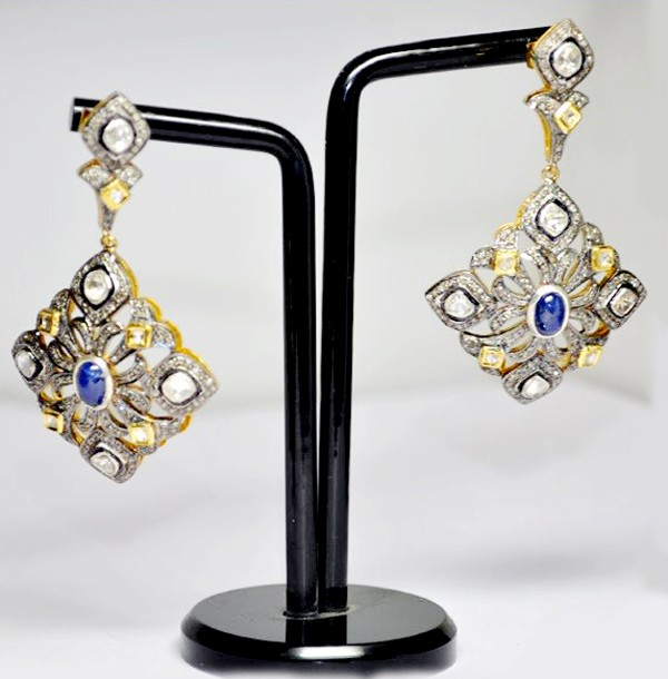 Victorian Diamond Earrings 2.50 Ct Natural Certified Diamond 1.00 Ct Blue Sapphire 925 Sterling Silver Festive