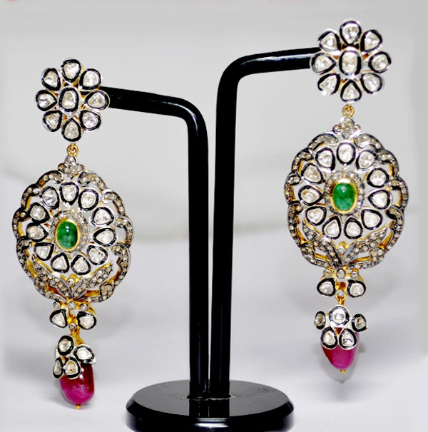 Antique Earrings 5.76 Ct Natural Certified Diamond 3.00 Ct Gemstone 925 Sterling Silver Office Wear