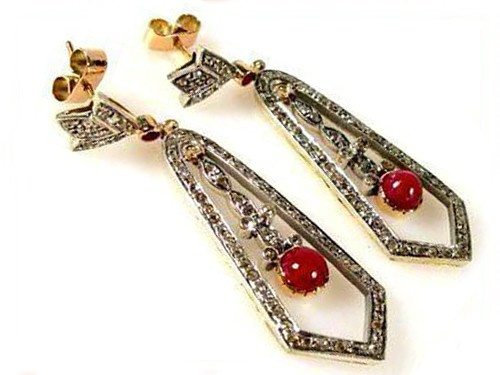 Uncut Earrings 2.50 Ct Natural Certified Diamond 1.00 Ct Red Coral 925 Sterling Silver Everyday
