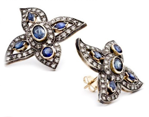 Victorian Earrings 2.00 Ct Natural Certified Diamond 1.20 Ct Blue Sapphire 925 Sterling Silver Office Wear