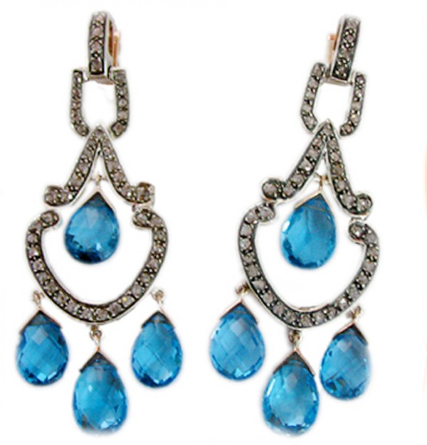 Antique Diamond Earrings 1.80 Ct Natural Certified Diamond 4.00 Ct Blue Topaz 925 Sterling Silver Anniversary