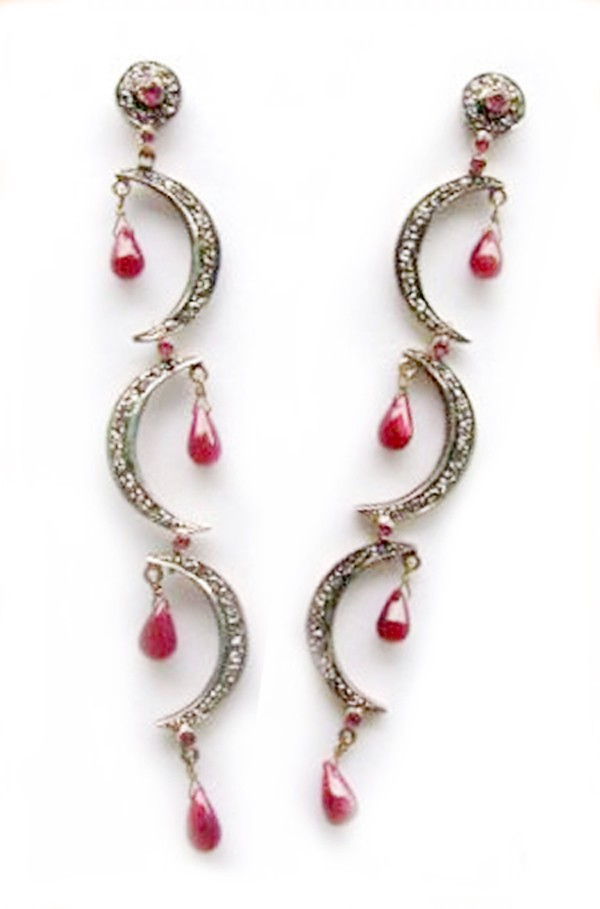 Vintage Drop Earrings 1.15 Ct Natural Certified Diamond 1.20 Ct Ruby 925 Sterling Silver Wedding