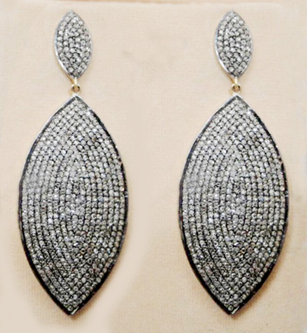 Antique Drop Earrings 7.74 Ct Natural Certified Diamond 925 Sterling Silver Workwear