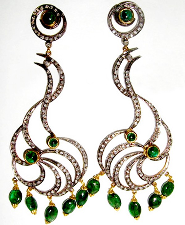 Polki Earrings 2.94 Ct Natural Certified Diamond 2.40 Ct Emerald 925 Sterling Silver Vacation