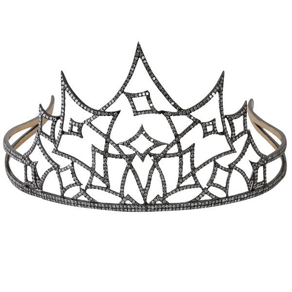 Diamond Crown 16Ct Natural Certified Diamond 925 Sterling Silver Hair Accessories