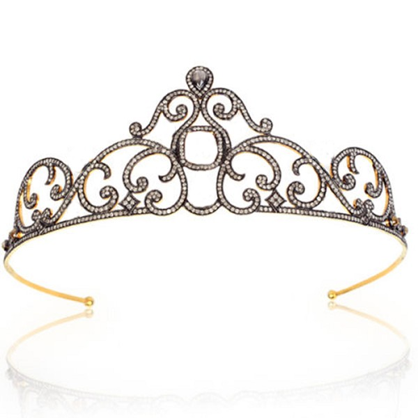 wedding headbands 14.7 Ct Natural Certified Diamond 925 Sterling Silver Diamond Crown