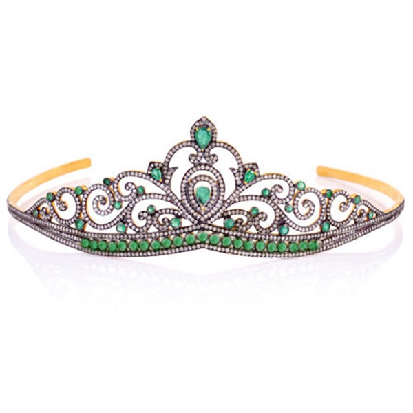 Diamond Crown 14.5 Ct Natural Certified Diamond Emerald 925 Sterling Silver Hair Accessories